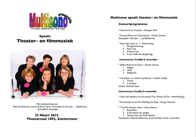 Fluit-ensemble Multisono - Theater en Filmmuziek - Programma