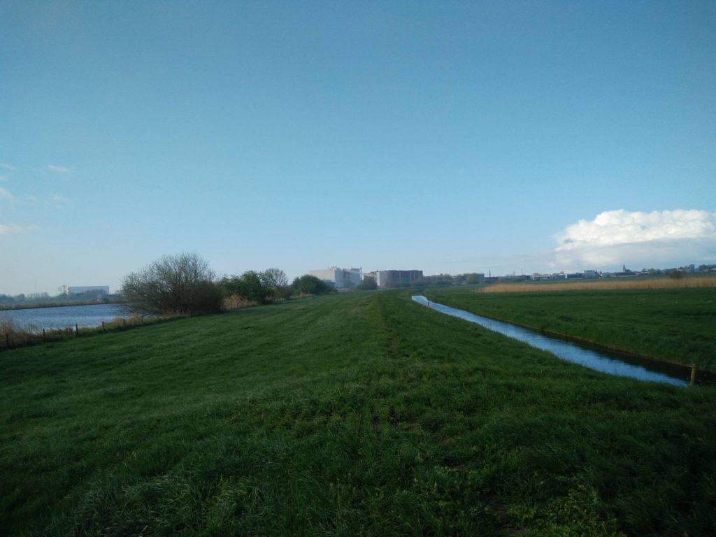Het is mooi wandelen op de dijk langs het Zwarte Water.