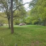 In Rolde staan, vlak achter de kerk, twee hunebedden.